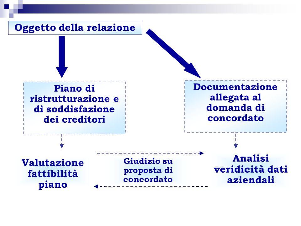 Documentazione allegata al domanda di concordato Piano di ristrutturazione e di soddisfazione dei creditori Analisi veridicità dati aziendali Valutazi