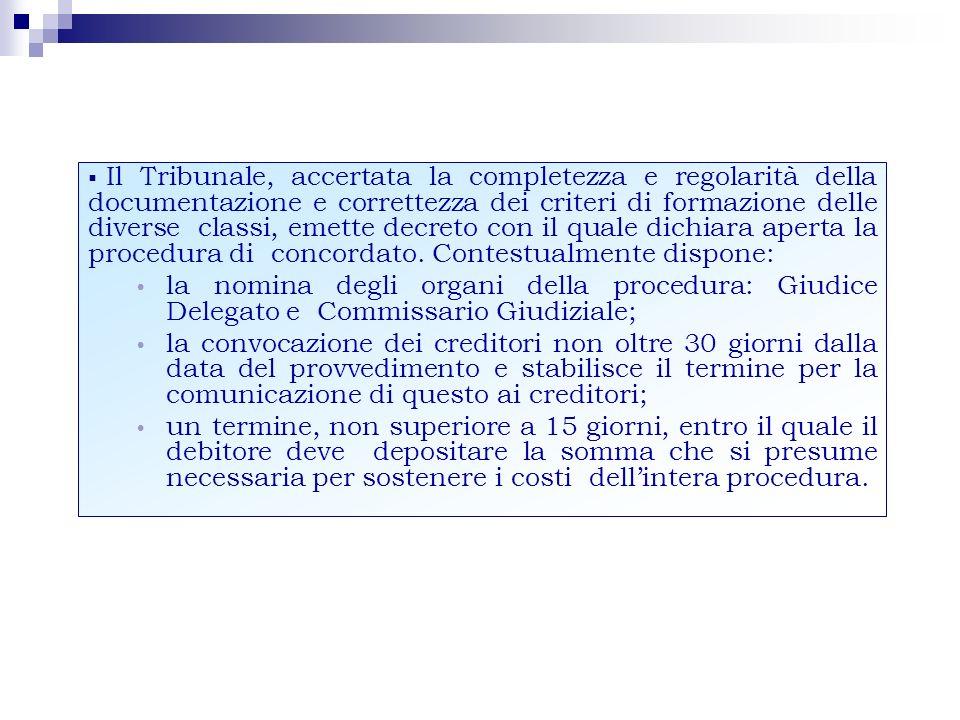 Il Tribunale, accertata la completezza e regolarità della documentazione e correttezza dei criteri di formazione delle diverse classi, emette decreto