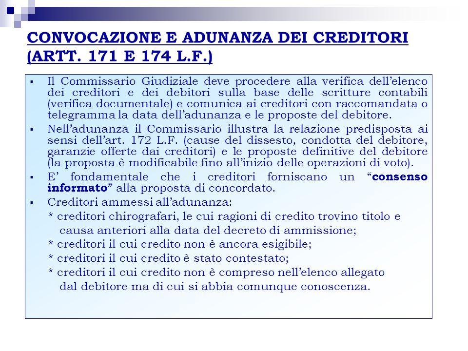 CONVOCAZIONE E ADUNANZA DEI CREDITORI (ARTT. 171 E 174 L.F.) Il Commissario Giudiziale deve procedere alla verifica dellelenco dei creditori e dei deb