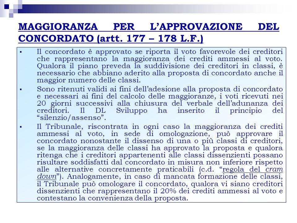 MAGGIORANZA PER LAPPROVAZIONE DEL CONCORDATO (artt. 177 – 178 L.F.) Il concordato è approvato se riporta il voto favorevole dei creditori che rapprese