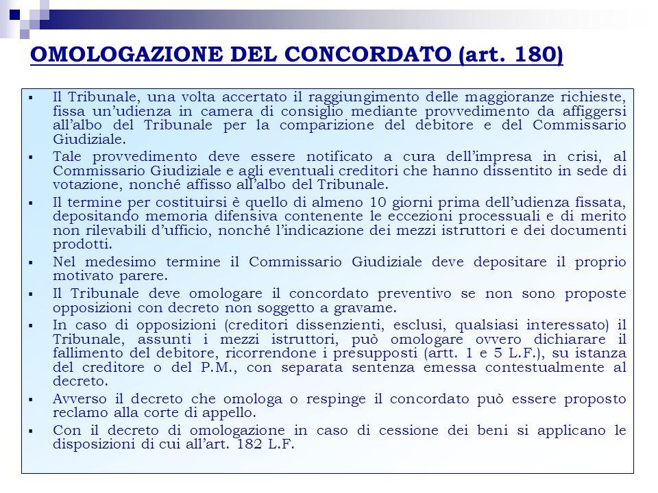 OMOLOGAZIONE DEL CONCORDATO (art. 180) Il Tribunale, una volta accertato il raggiungimento delle maggioranze richieste, fissa unudienza in camera di c