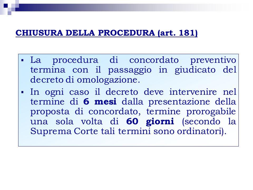 CHIUSURA DELLA PROCEDURA (art. 181) La procedura di concordato preventivo termina con il passaggio in giudicato del decreto di omologazione. In ogni c