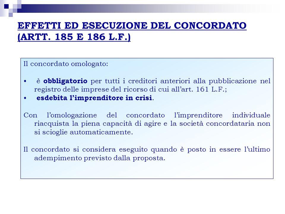 EFFETTI ED ESECUZIONE DEL CONCORDATO (ARTT. 185 E 186 L.F.) Il concordato omologato: è obbligatorio per tutti i creditori anteriori alla pubblicazione