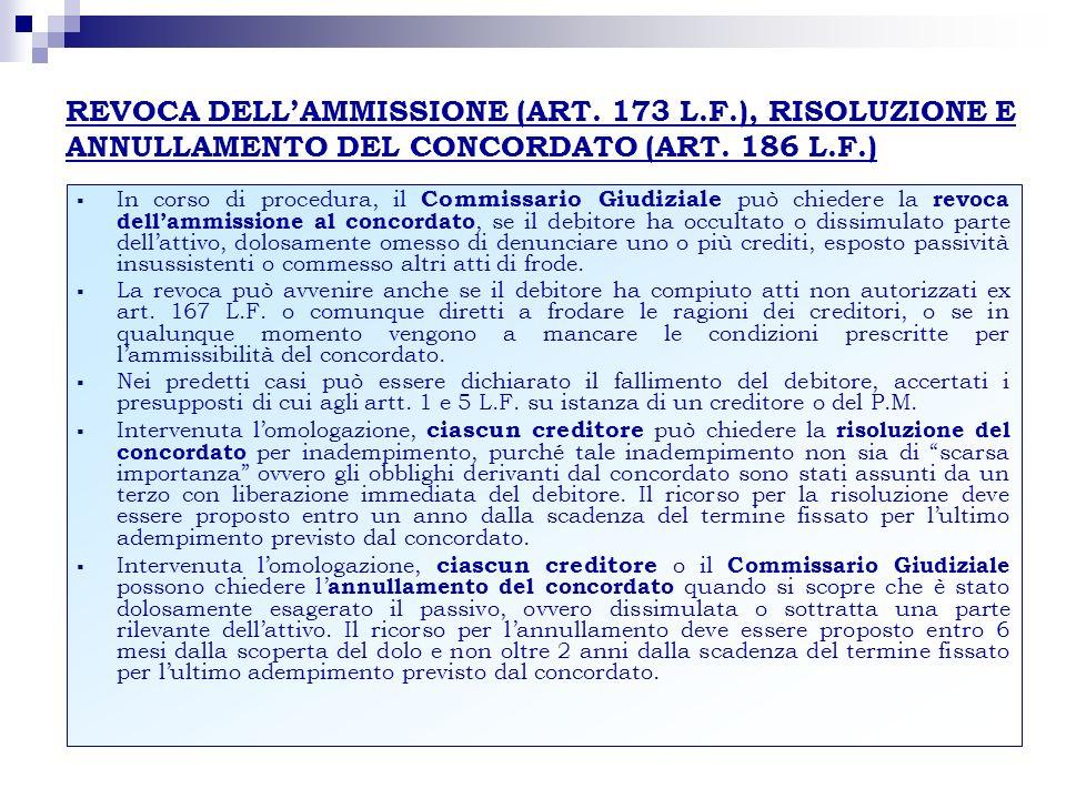 REVOCA DELLAMMISSIONE (ART. 173 L.F.), RISOLUZIONE E ANNULLAMENTO DEL CONCORDATO (ART. 186 L.F.) In corso di procedura, il Commissario Giudiziale può