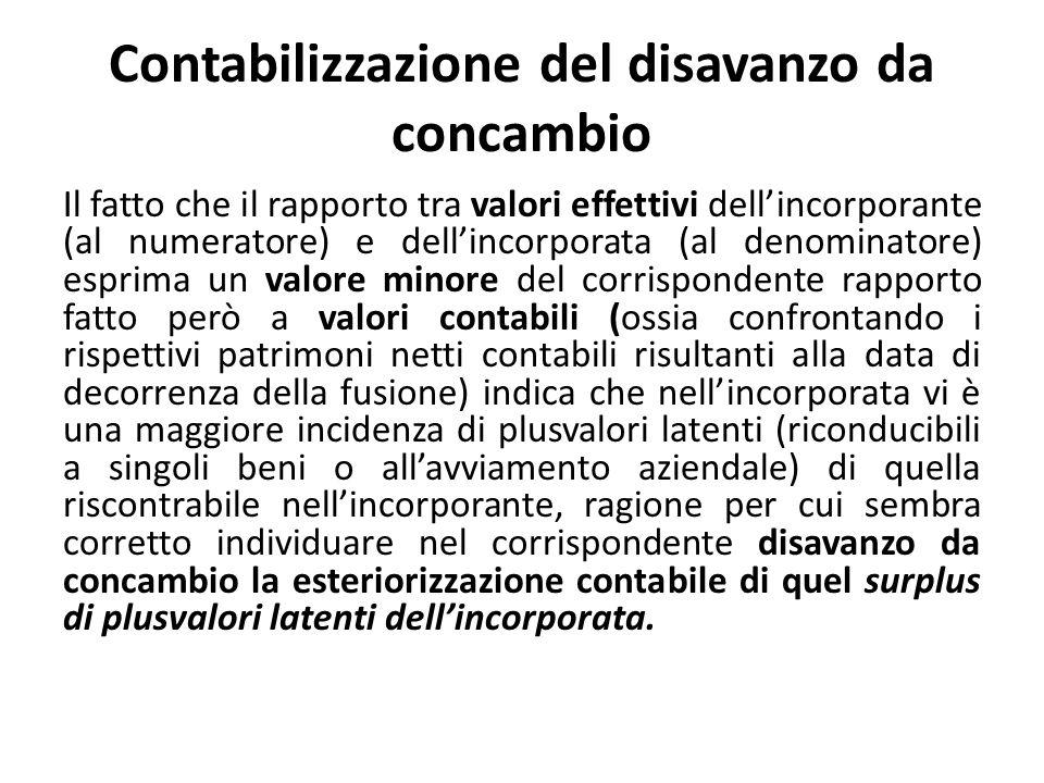 Contabilizzazione del disavanzo da concambio Il fatto che il rapporto tra valori effettivi dellincorporante (al numeratore) e dellincorporata (al deno