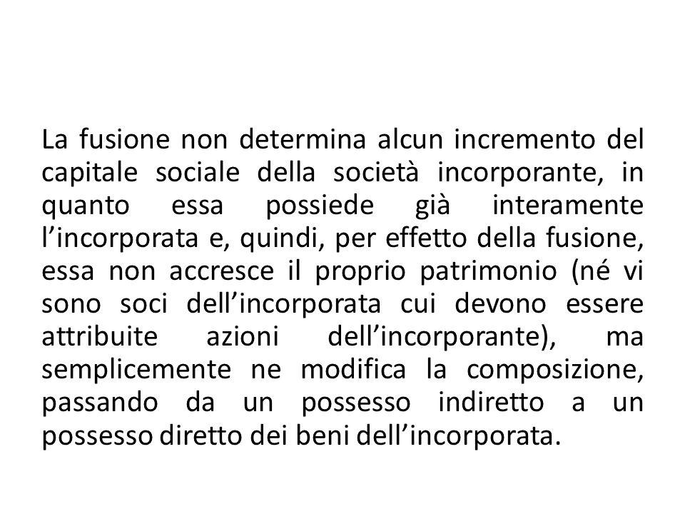 La fusione non determina alcun incremento del capitale sociale della società incorporante, in quanto essa possiede già interamente lincorporata e, qui