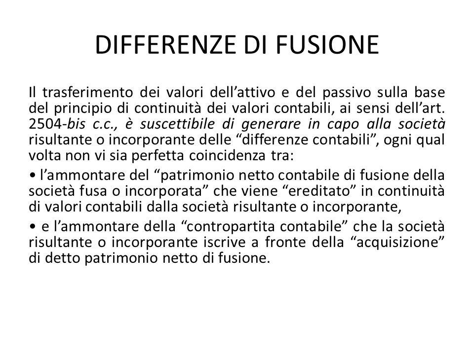 DIFFERENZE DI FUSIONE Il trasferimento dei valori dellattivo e del passivo sulla base del principio di continuità dei valori contabili, ai sensi della