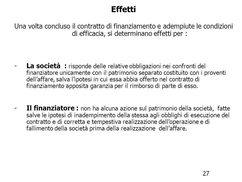 Effetti Una volta concluso il contratto di finanziamento e adempiute le condizioni di efficacia, si determinano effetti per : -I creditori sociali : n