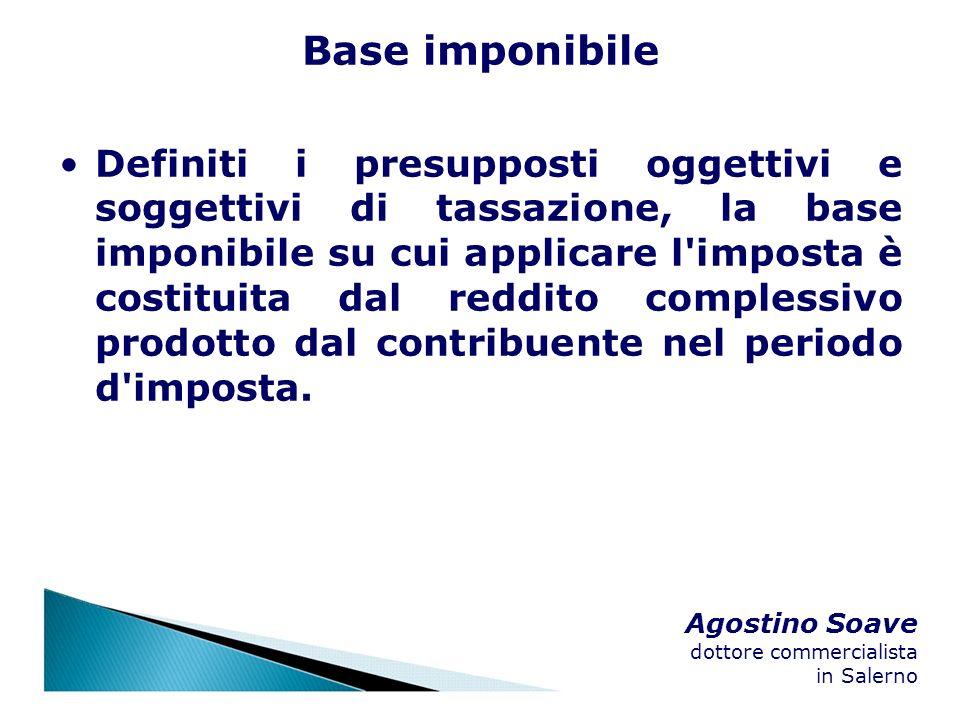 Agostino Soave dottore commercialista in Salerno Base imponibile Definiti i presupposti oggettivi e soggettivi di tassazione, la base imponibile su cu