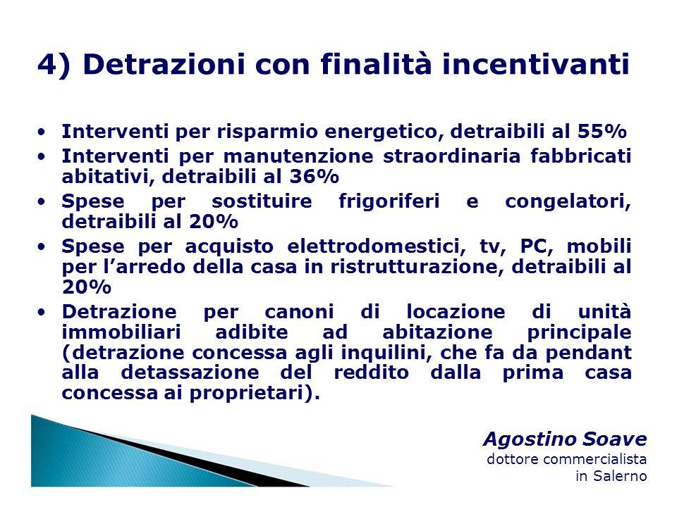 Agostino Soave dottore commercialista in Salerno 4) Detrazioni con finalità incentivanti Interventi per risparmio energetico, detraibili al 55% Interv