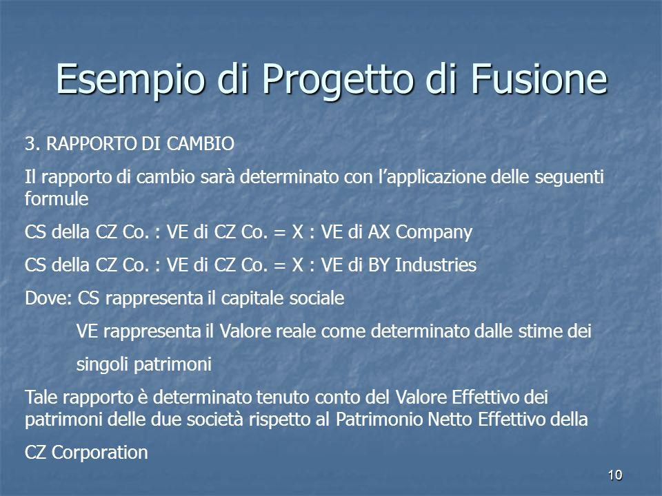 10 Esempio di Progetto di Fusione 3. RAPPORTO DI CAMBIO Il rapporto di cambio sarà determinato con lapplicazione delle seguenti formule CS della CZ Co