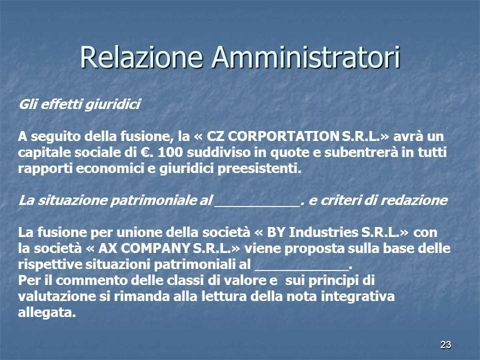 23 Relazione Amministratori Gli effetti giuridici A seguito della fusione, la « CZ CORPORTATION S.R.L.» avrà un capitale sociale di. 100 suddiviso in