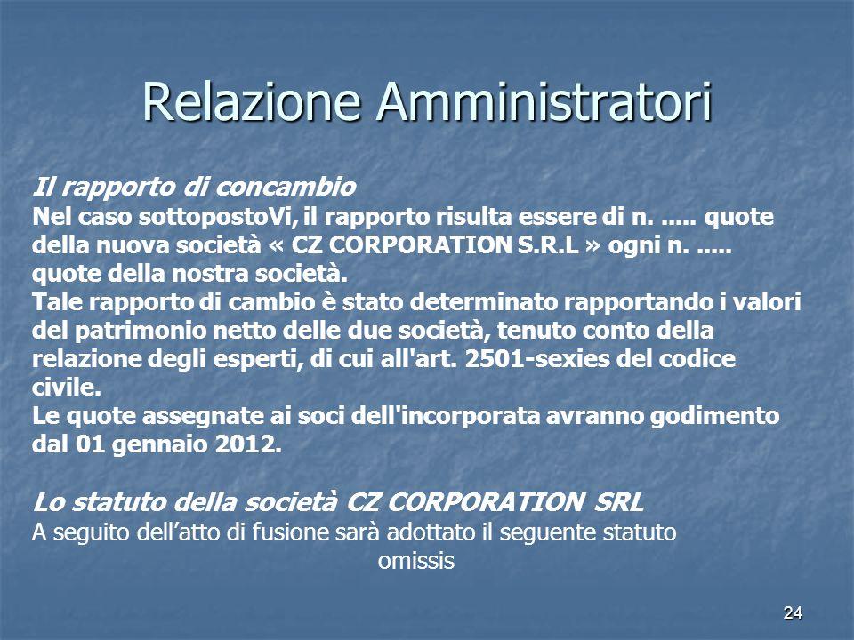 24 Relazione Amministratori Il rapporto di concambio Nel caso sottopostoVi, il rapporto risulta essere di n...... quote della nuova società « CZ CORPO