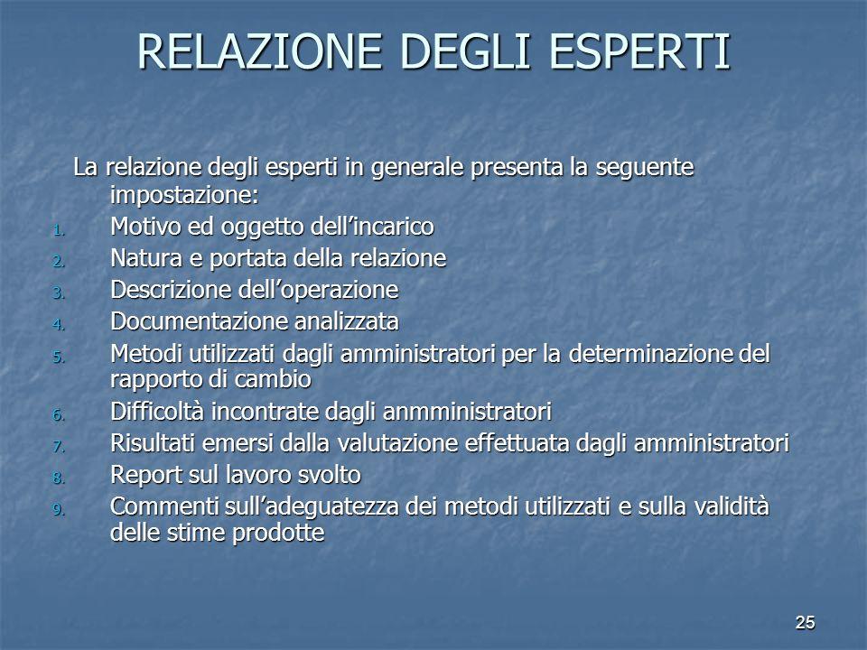 25 RELAZIONE DEGLI ESPERTI La relazione degli esperti in generale presenta la seguente impostazione: La relazione degli esperti in generale presenta l