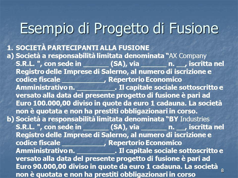 9 Esempio di Progetto di Fusione SOCIETÀ CHE NASCE DALLA FUSIONE Lunione delle due società darà vita al seguente soggetto economico: CZ CORPORATION S.R.L., con sede in _________ via ______ n.