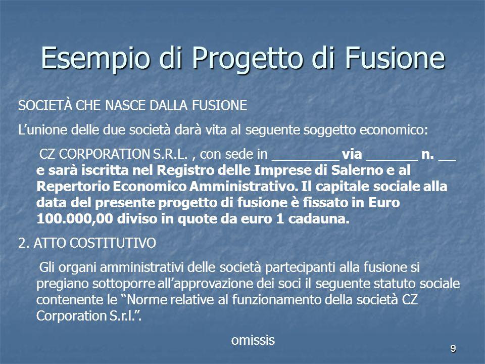 20 Esempio di Progetto di Fusione 7.