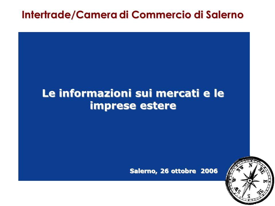 Le informazioni sui mercati e le imprese estere Salerno, 26 ottobre 2006 Intertrade/Camera di Commercio di Salerno