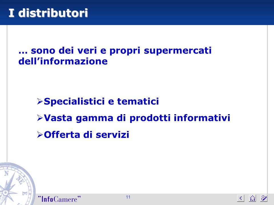 11 I distributori Specialistici e tematici Vasta gamma di prodotti informativi Offerta di servizi … sono dei veri e propri supermercati dellinformazio