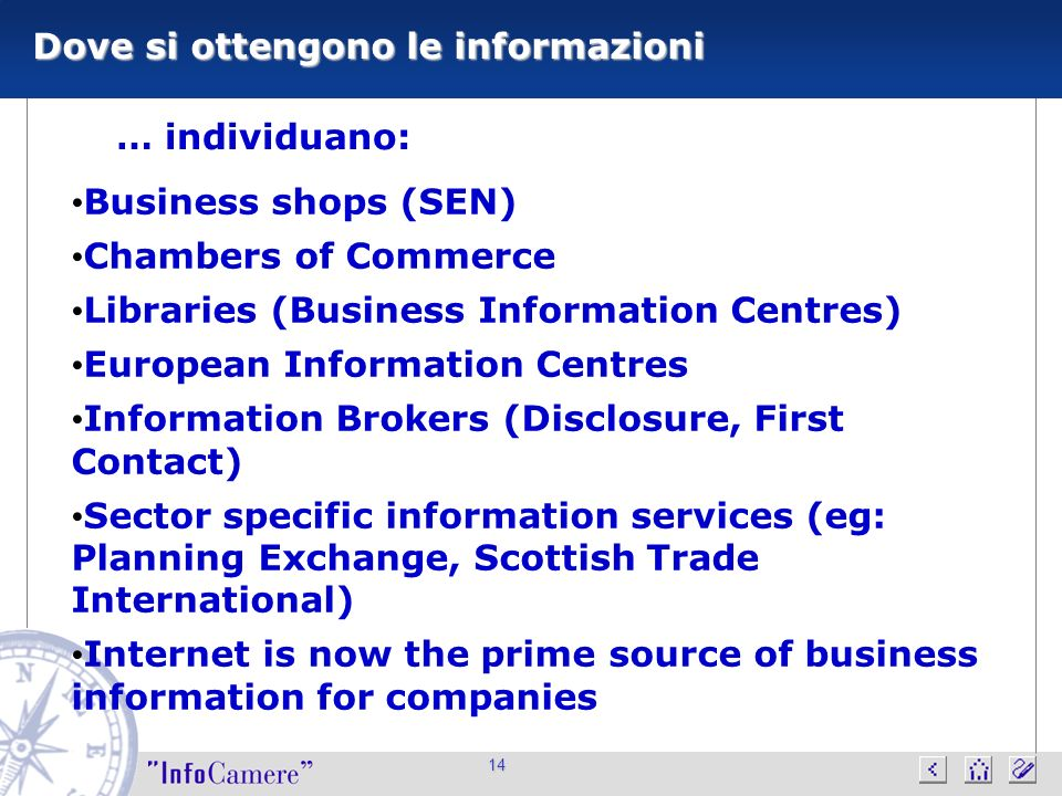 14 Dove si ottengono le informazioni … individuano: Business shops (SEN) Chambers of Commerce Libraries (Business Information Centres) European Inform
