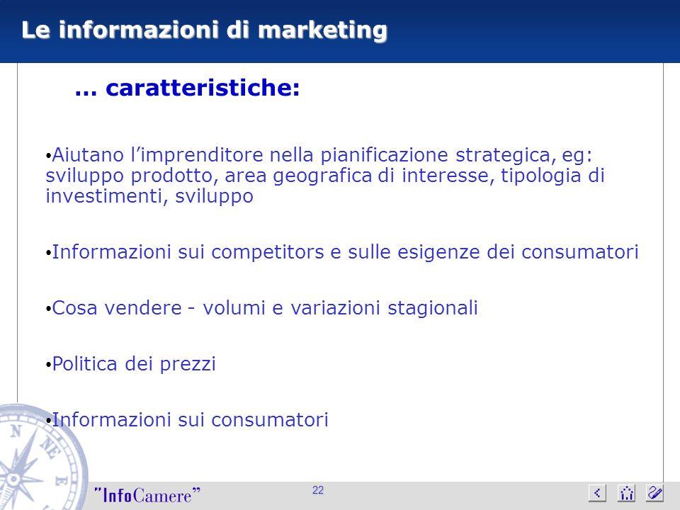 22 Le informazioni di marketing … caratteristiche: Aiutano limprenditore nella pianificazione strategica, eg: sviluppo prodotto, area geografica di in