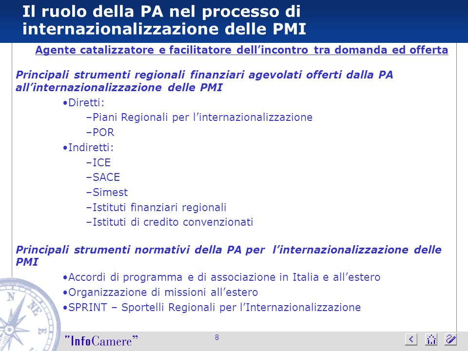 8 Il ruolo della PA nel processo di internazionalizzazione delle PMI Agente catalizzatore e facilitatore dellincontro tra domanda ed offerta Principal