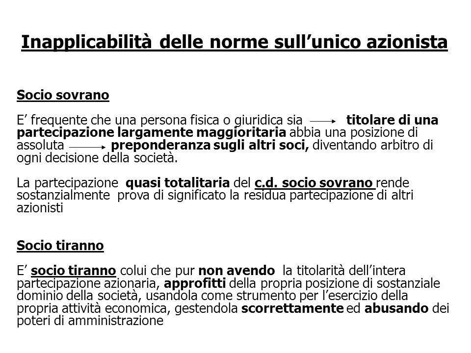 Diritti e vincoli su tutte le azioni della società Locazione, leasing o comodato : lunico proprietario rimane unico azionista.