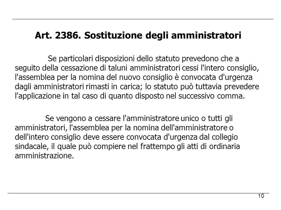 10 Art. 2386. Sostituzione degli amministratori Se particolari disposizioni dello statuto prevedono che a seguito della cessazione di taluni amministr