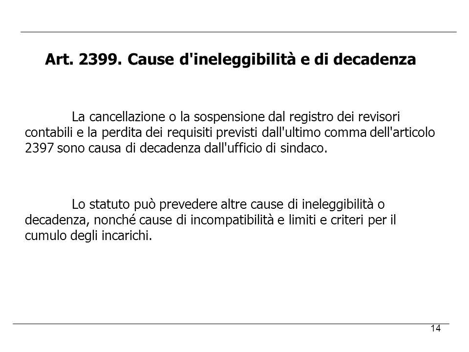 14 Art. 2399. Cause d'ineleggibilità e di decadenza La cancellazione o la sospensione dal registro dei revisori contabili e la perdita dei requisiti p