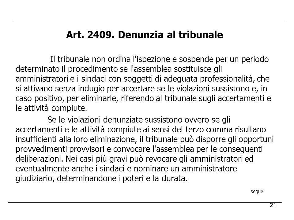 21 Art. 2409. Denunzia al tribunale Il tribunale non ordina l'ispezione e sospende per un periodo determinato il procedimento se l'assemblea sostituis