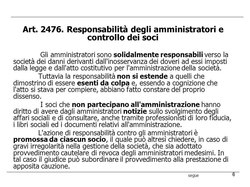 6 Art. 2476. Responsabilità degli amministratori e controllo dei soci Gli amministratori sono solidalmente responsabili verso la società dei danni der