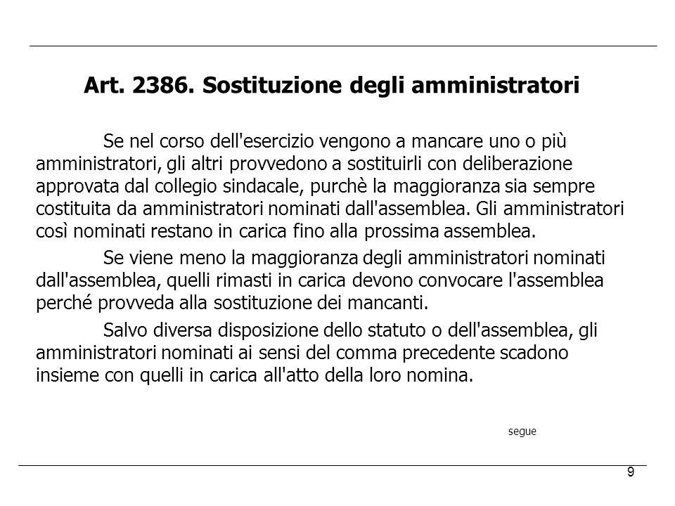 9 Art. 2386. Sostituzione degli amministratori Se nel corso dell'esercizio vengono a mancare uno o più amministratori, gli altri provvedono a sostitui