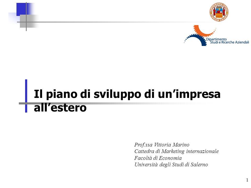 1 Il piano di sviluppo di unimpresa allestero Prof.ssa Vittoria Marino Cattedra di Marketing internazionale Facoltà di Economia Università degli Studi