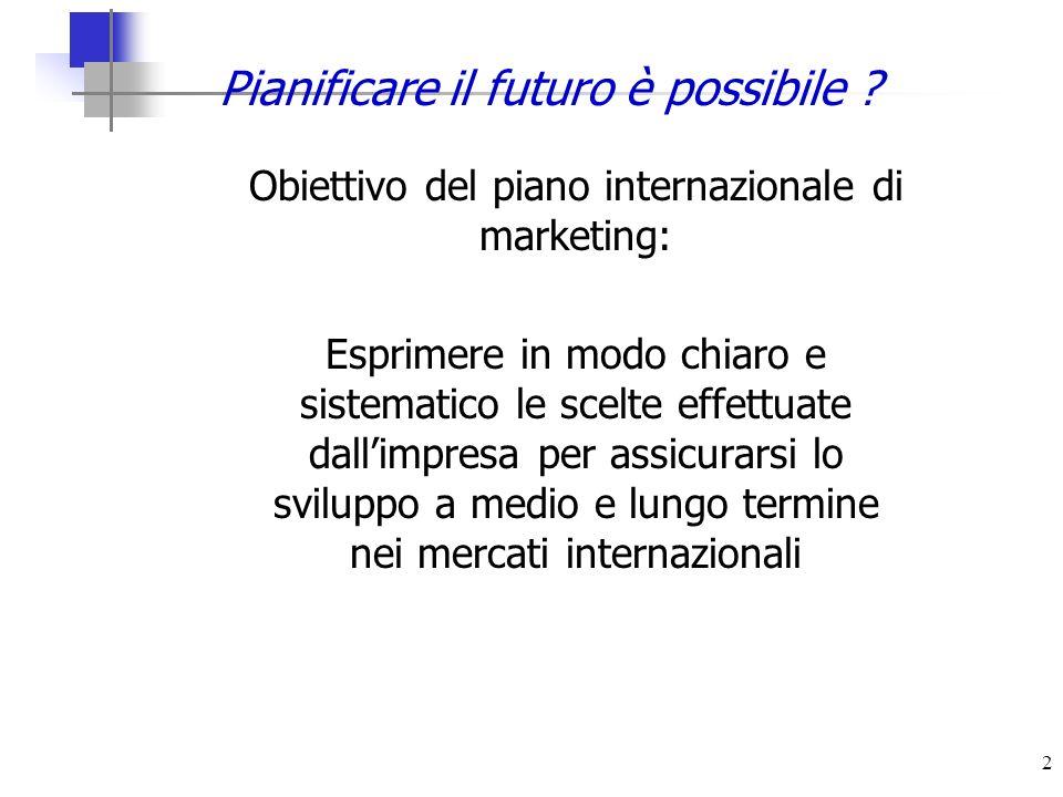 2 Pianificare il futuro è possibile ? Obiettivo del piano internazionale di marketing: Esprimere in modo chiaro e sistematico le scelte effettuate dal