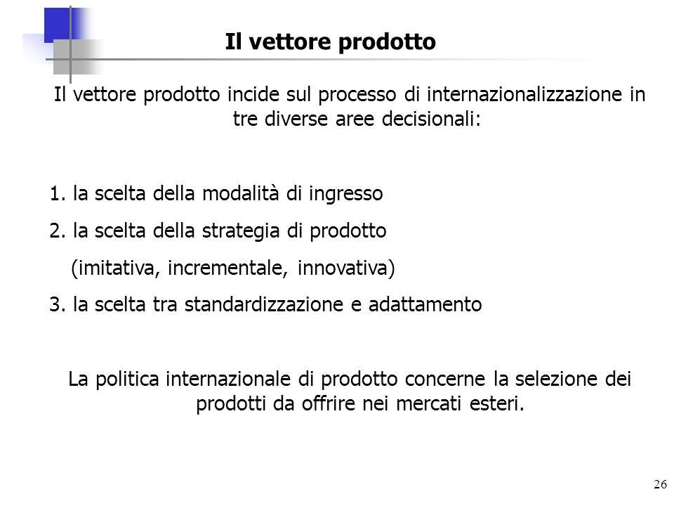26 Il vettore prodotto Il vettore prodotto incide sul processo di internazionalizzazione in tre diverse aree decisionali: 1. la scelta della modalità