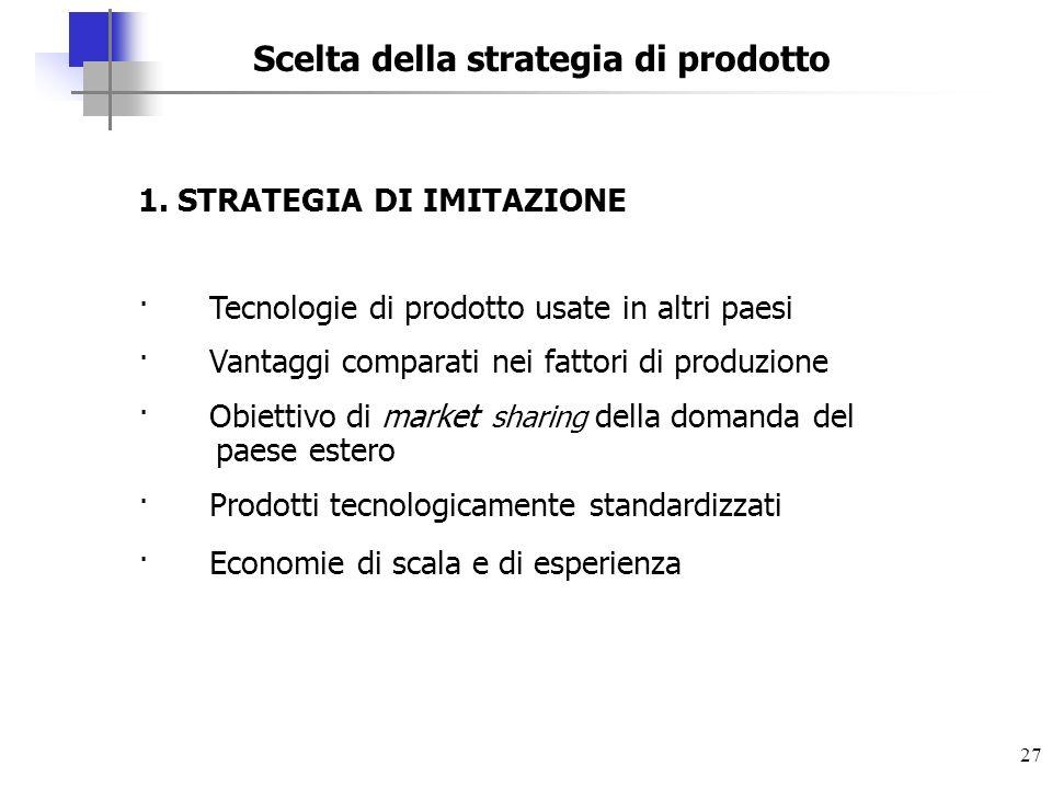 27 Scelta della strategia di prodotto 1. STRATEGIA DI IMITAZIONE · Tecnologie di prodotto usate in altri paesi · Vantaggi comparati nei fattori di pro