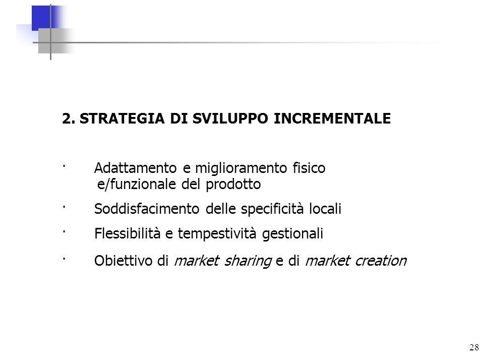 28 2. STRATEGIA DI SVILUPPO INCREMENTALE · Adattamento e miglioramento fisico e/funzionale del prodotto · Soddisfacimento delle specificità locali · F