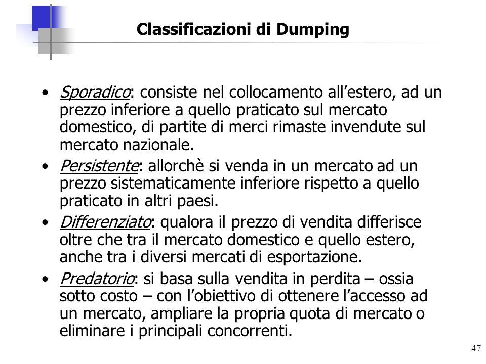 47 Classificazioni di Dumping Sporadico: consiste nel collocamento allestero, ad un prezzo inferiore a quello praticato sul mercato domestico, di part