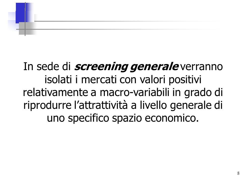 8 In sede di screening generale verranno isolati i mercati con valori positivi relativamente a macro-variabili in grado di riprodurre lattrattività a