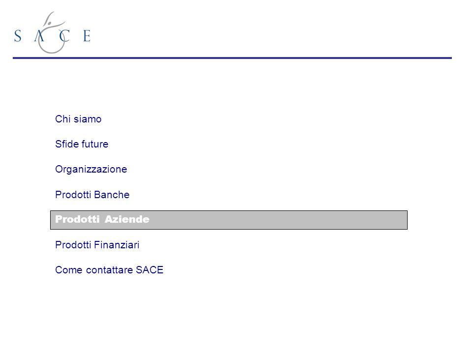 Chi siamo Sfide future Organizzazione Prodotti Banche Prodotti Aziende Prodotti Finanziari Come contattare SACE