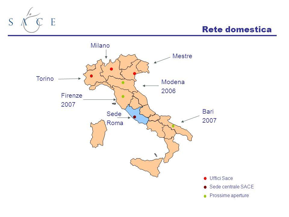 Torino Milano Mestre Modena 2006 Firenze 2007 Bari 2007 Sede Roma Uffici Sace Sede centrale SACE Prossime aperture Rete domestica