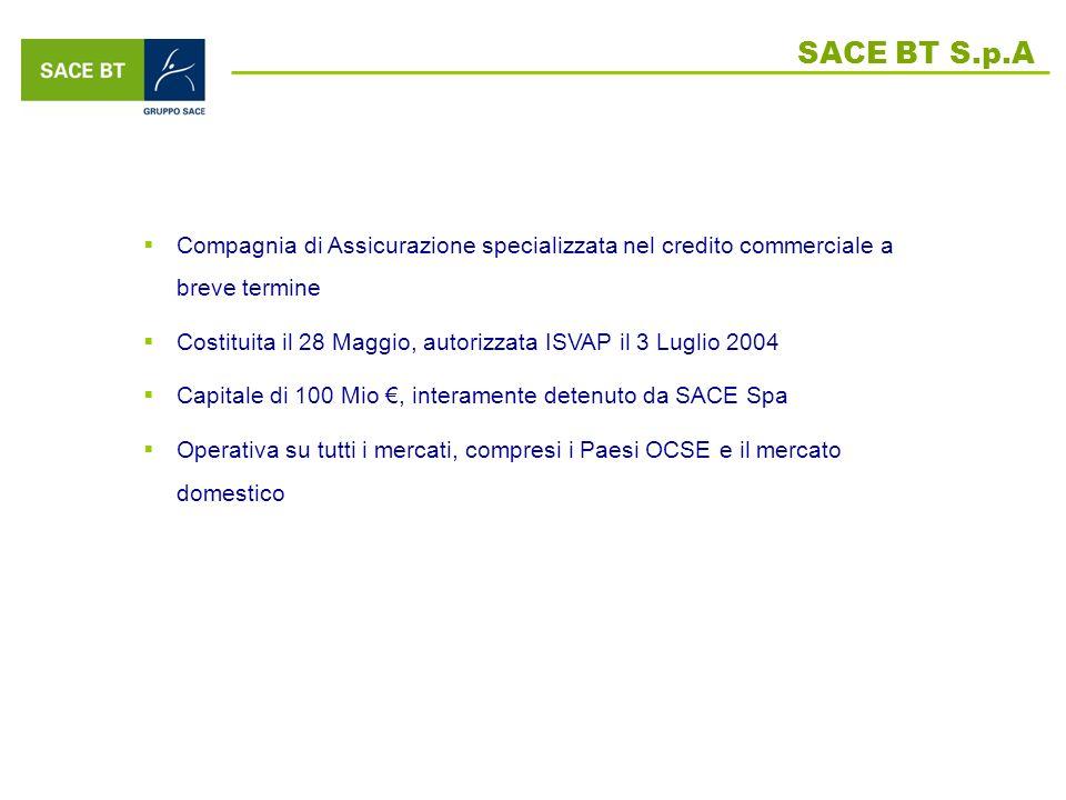 SACE BT S.p.A Compagnia di Assicurazione specializzata nel credito commerciale a breve termine Costituita il 28 Maggio, autorizzata ISVAP il 3 Luglio 2004 Capitale di 100 Mio, interamente detenuto da SACE Spa Operativa su tutti i mercati, compresi i Paesi OCSE e il mercato domestico