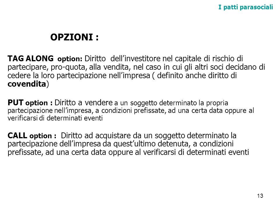 13 I patti parasociali OPZIONI : TAG ALONG option: Diritto dellinvestitore nel capitale di rischio di partecipare, pro-quota, alla vendita, nel caso i