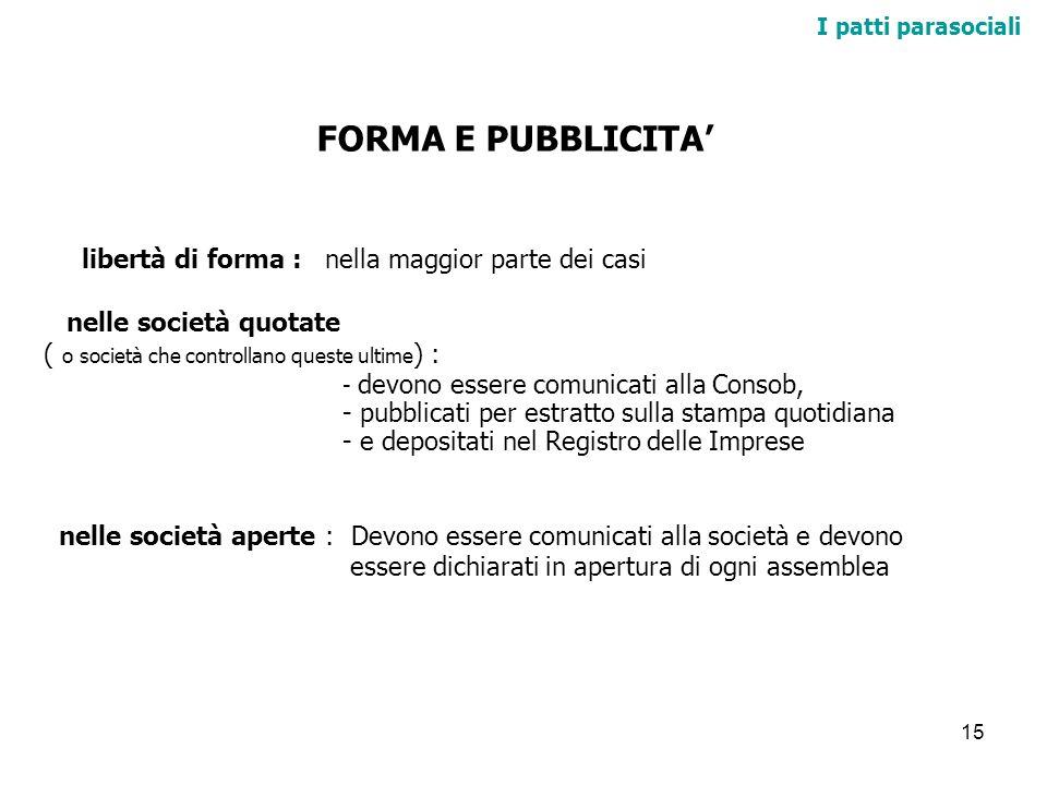 15 I patti parasociali FORMA E PUBBLICITA libertà di forma : nella maggior parte dei casi nelle società quotate ( o società che controllano queste ult