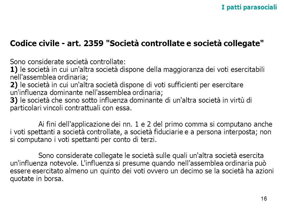16 I patti parasociali Codice civile - art. 2359
