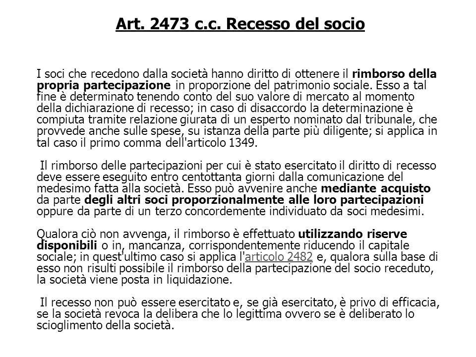 Art. 2473 c.c. Recesso del socio L'atto costitutivo determina quando il socio può recedere dalla società e le relative modalità. In ogni caso il dirit