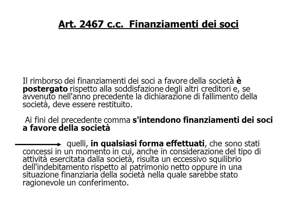 Art. 2473 c.c. Recesso del socio I soci che recedono dalla società hanno diritto di ottenere il rimborso della propria partecipazione in proporzione d
