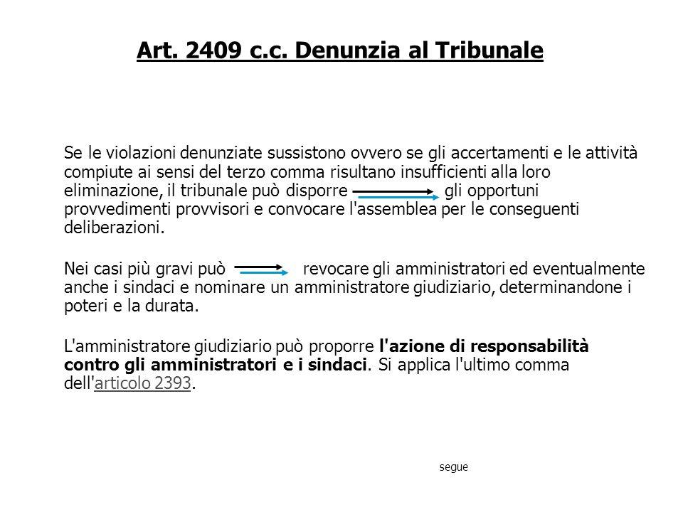 Art. 2409 c.c. Denunzia al Tribunale Se vi è fondato sospetto che gli amministratori, in violazione dei loro doveri, abbiano compiuto gravi irregolari