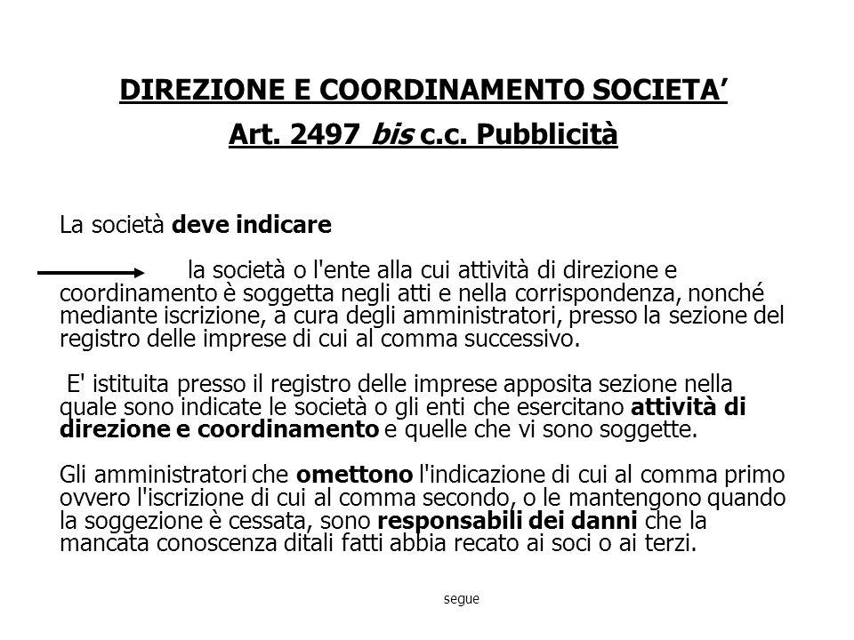 DIREZIONE E COORDINAMENTO SOCIETA Art.2497 c.c.