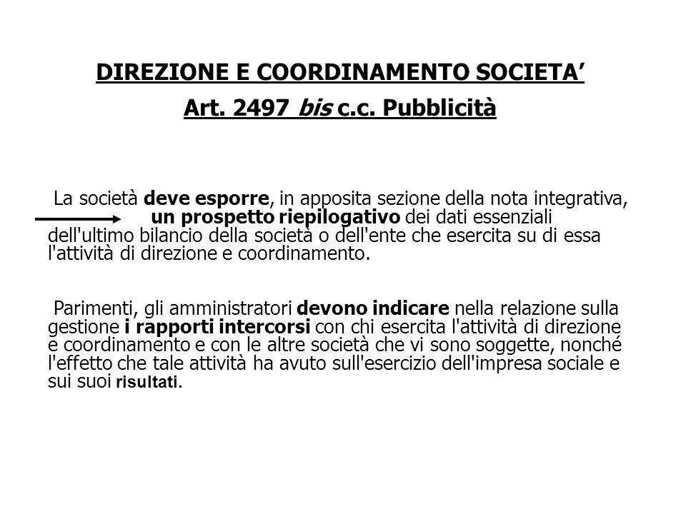 DIREZIONE E COORDINAMENTO SOCIETA Art. 2497 bis c.c. Pubblicità La società deve indicare la società o l'ente alla cui attività di direzione e coordina