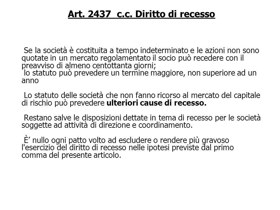 Art. 2437 c.c. Diritto di recesso Hanno diritto di recedere, per tutte o parte delle loro azioni, i soci che non hanno concorso alle deliberazioni rig